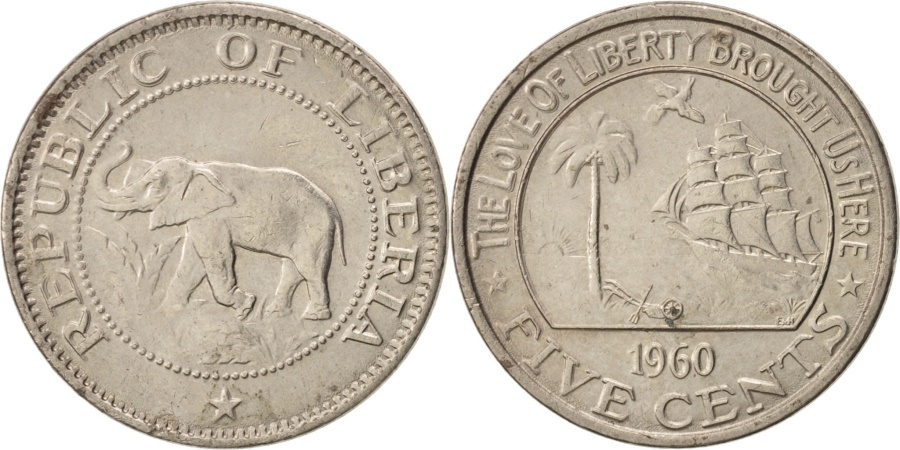 World Coins - Liberia, 5 Cents, 1960, Heaton, , Copper-nickel, KM:14