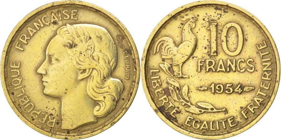 World Coins - FRANCE, Guiraud, 10 Francs, 1954, Paris, KM #915.1, , Aluminum-Bronze,.