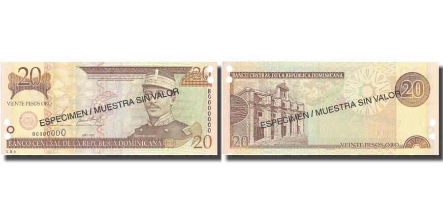 World Coins - Banknote, Dominican Republic, 20 Pesos Oro, 2001, 2001, Specimen, KM:169s1