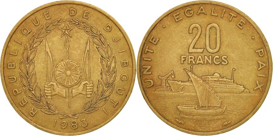 World Coins - Djibouti, 20 Francs, 1983, Paris, , Aluminum-Bronze, KM:24