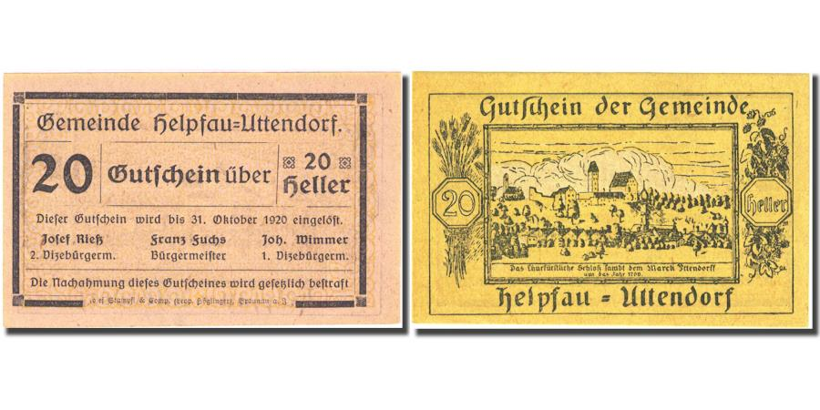 World Coins - Banknote, Austria, Helpfau, 20 Heller village 1920 yellow UNC(64) Mehl:FS 3651b