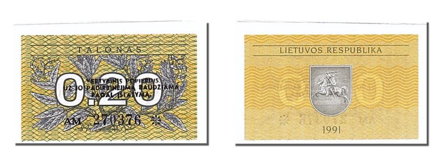 World Coins - Lithuania, 0.20 Talonas, 1991, KM #30, UNC(65-70), AM 270376