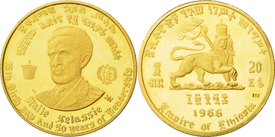 World Coins - ETHIOPIA, 20 Dollars, 1966, KM #39, , Gold, 8.10