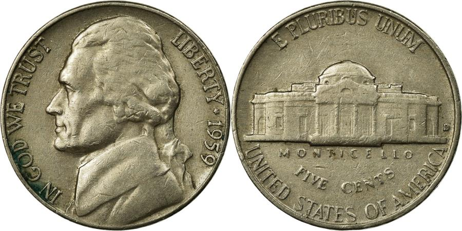 US Coins - Coin, United States, Jefferson Nickel, 5 Cents, 1959, U.S. Mint, Philadelphia