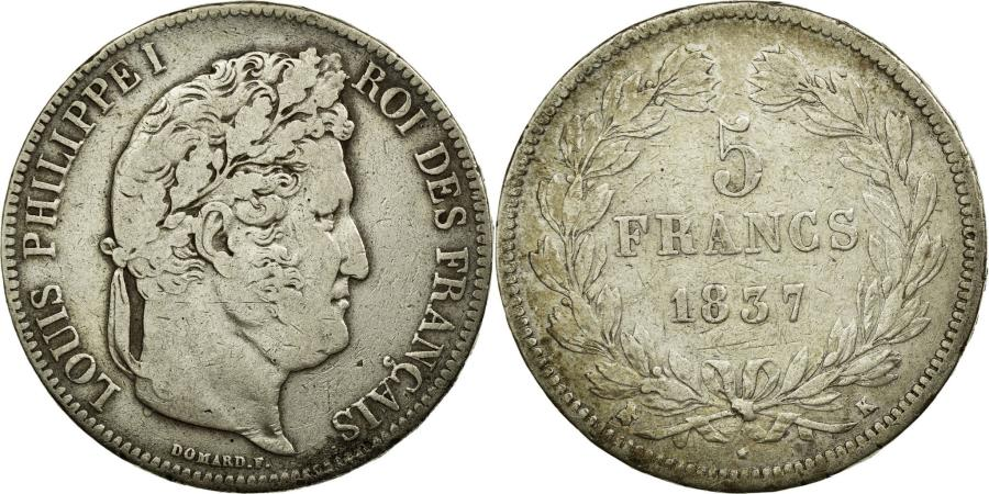 World Coins - Coin, France, Louis-Philippe, 5 Francs, 1837, Bordeaux, VF(30-35), Silver
