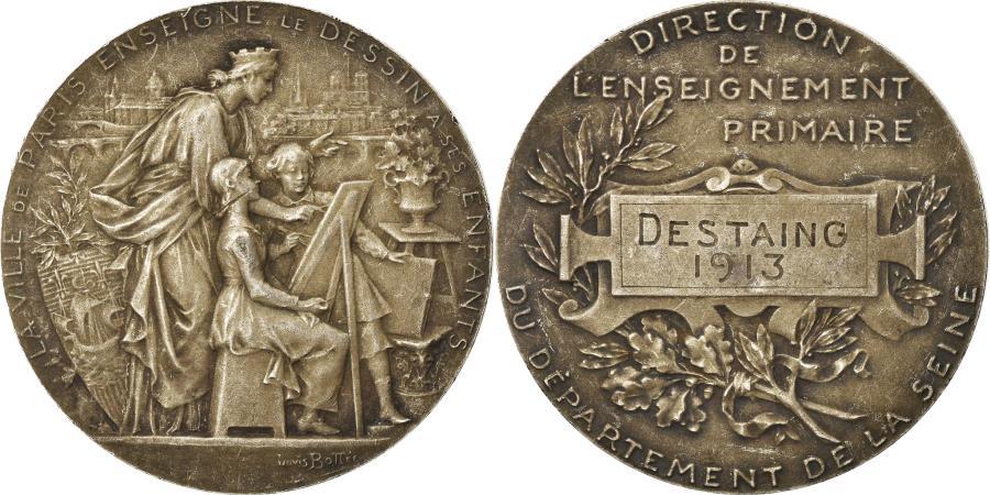 World Coins - France, Medal, La Ville de Paris Enseigne le Dessin à ses Enfants, Arts &