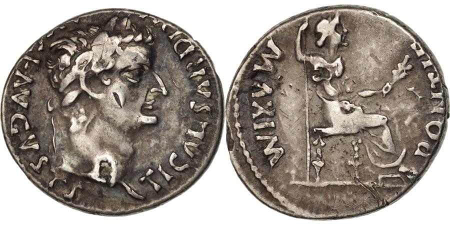 Ancient Coins - Tiberius, Denarius, Lyons, Fourré, RIC:30