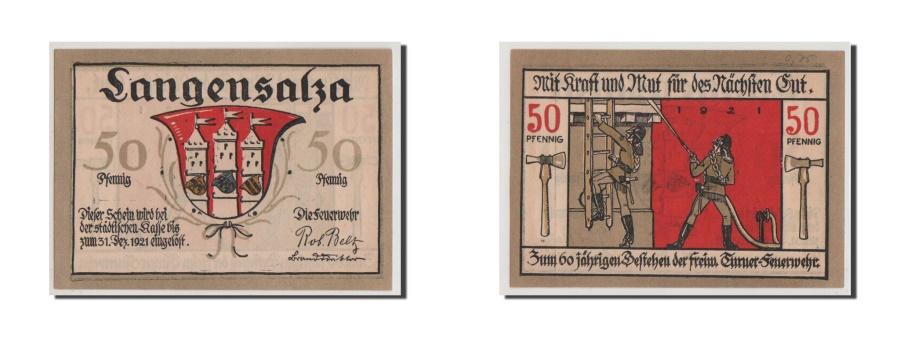 World Coins - Germany, Langensalza Stadt, 50 Pfennig, UNC(65-70), Mehl #769.1