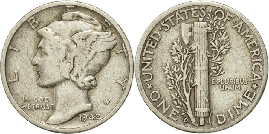 US Coins - Coin, United States, Mercury Dime, Dime, 1942, U.S. Mint, Denver,