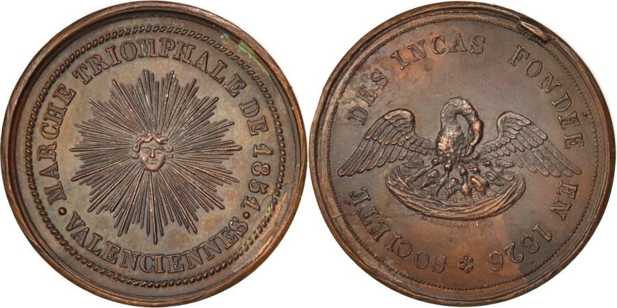 World Coins - France, Masonic, Société des Incas, Marche de 1851, 1851, Medal,