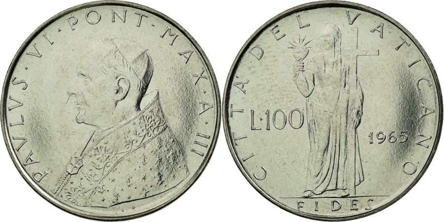 World Coins - Coin, VATICAN CITY, Paul VI, 100 Lire, 1965, , Stainless Steel, KM:82.2