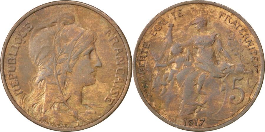 World Coins - FRANCE, Dupuis, 5 Centimes, 1917, Paris, KM #842, , Bronze, 25.1,...