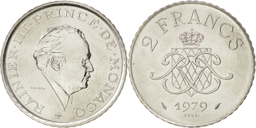 World Coins - MONACO, 2 Francs, 1979, KM #E71, , Nickel, Gadoury #151, 7.50