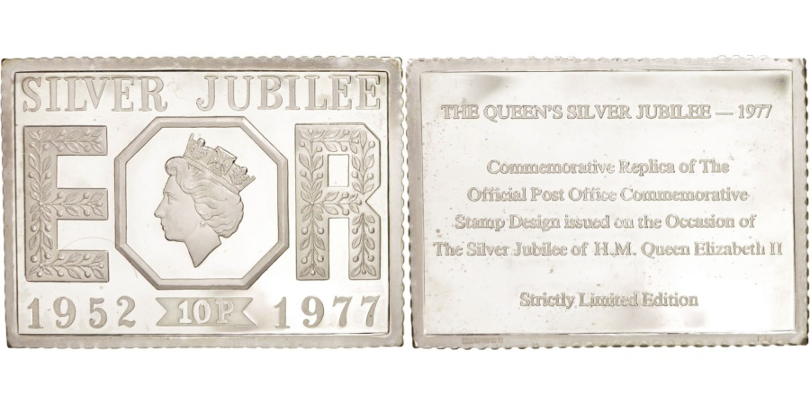 World Coins - Great Britain, Silver Jubilee stamp, Medal, 1977, , Silver, 61x45mm