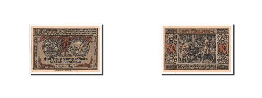 World Coins - Germany, Mühlberg, 50 Pfennig, chevalier, 1921-07-01, UNC(65-70), Mehl:903.1