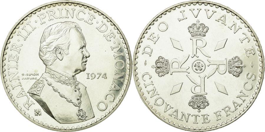 World Coins - Coin, Monaco, Rainier III, 50 Francs, 1974, , Silver, KM:152.1