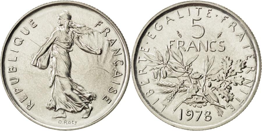 World Coins - FRANCE, Semeuse, 5 Francs, 1978, Paris, KM #926a.1, , Nickel Clad...