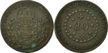 World Coins - Coin, Brazil, Pedro I, 80 Reis, 1824, Rio de Janeiro, EF(40-45), Copper
