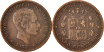 World Coins - Spain, Alfonso XII, 5 Centimos, 1877, Madrid, EF(40-45), Bronze, KM:674