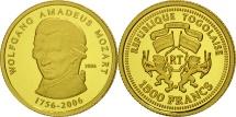 Togo, 1500 Francs, 2006, Mozart, MS(65-70), Gold