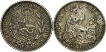 World Coins - Peru, 1/2 Dinero, 1914, Lima, AU(55-58), Silver, KM:206.2