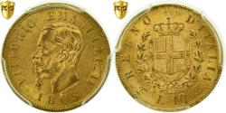 World Coins - Coin, Italy, Vittorio Emanuele II, 10 Lire, 1863, Torino, PCGS, MS63+, Gold