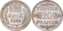 World Coins - Coin, Tunisia, Ahmad Pasha Bey, 20 Francs, 1934, Paris, , Silver