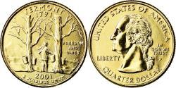 Us Coins - Coin, United States, Vermont, Quarter, 2001, U.S. Mint, Philadelphia, golden
