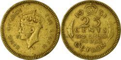 World Coins - Coin, Ceylon, George VI, 25 Cents, 1951, , Nickel-brass,  KM:122