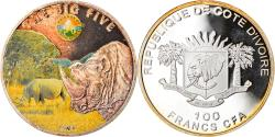 World Coins - Coin, Ivory Coast, Rhinocéros, 100 Francs CFA, 2010, Proof, , Silver