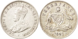 World Coins - Australia, George V, Threepence, 1921, , Silver, KM:24