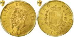 Ancient Coins - Coin, Italy, Vittorio Emanuele II, 10 Lire, 1863, Torino, PCGS, MS62+, Gold