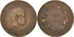 World Coins - PORTUGAL, 20 Reis, 1891, KM #533, , Bronze, 30, 11.72