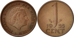 World Coins - Netherlands, Juliana, Cent, 1955, , Bronze, KM:180