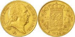 Ancient Coins - Coin, France, Louis XVIII, 20 Francs, 1824, Paris, AU(50-53), Gold, KM 712.1