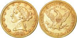 Us Coins - Coin, United States, Coronet Head, $5, Half Eagle, 1881, Philadelphia