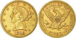 Us Coins - Coin, United States, Coronet Head, $5, Half Eagle, 1880, Philadelphia