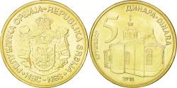 World Coins - SERBIA, 5 Dinara, 2010, KM #40, , Nickel-Brass, 24, 6.14