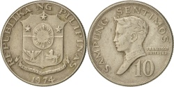 World Coins - Philippines, 10 Sentimos, 1974, , Copper-nickel, KM:198