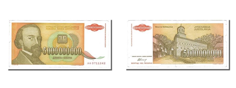 World Coins - Yugoslavia, 5,000,000,000 Dinara, 1993, KM #135a, AU(55-58), AA