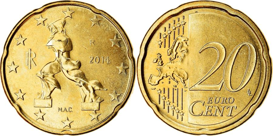 World Coins - Italy, 20 Euro Cent, 2014, , Brass