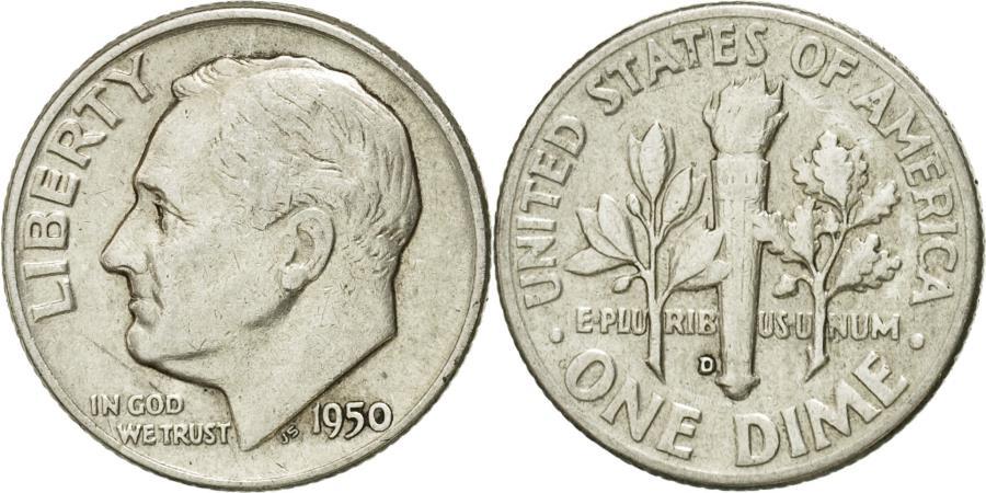 US Coins - Coin, United States, Roosevelt Dime, Dime, 1950, U.S. Mint, Denver,