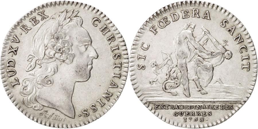 World Coins - France, Royal, Louis XV, Extraordinaire des Guerres, 1758, R. Filius, Token