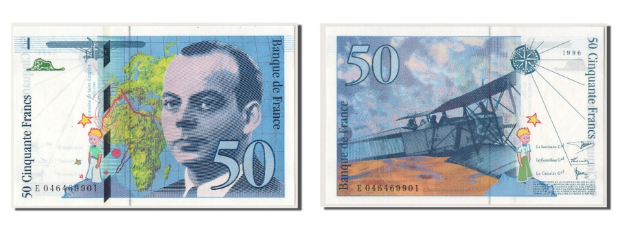 World Coins - France, 50 Francs, 50 F 1992-1999 ''St Exupéry'', 1996, KM #157Ac, UNC(65-70), E