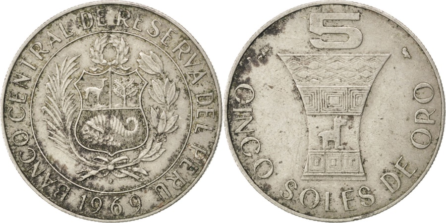 World Coins - PERU, 5 Soles, 1969, Paris, KM #252, , Copper-Nickel, 4.92