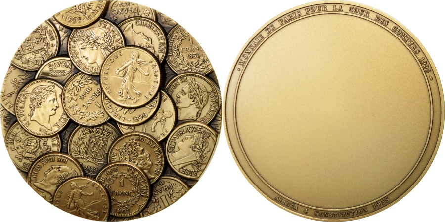 World Coins - FRANCE, Politics, Society, War, The Fifth Republic, Medal, , Rousseau,.