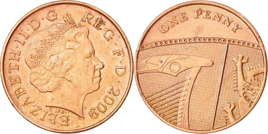 World Coins - Great Britain, Elizabeth II, Penny, 2009, , Copper Plated Steel,KM 1107