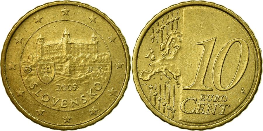 World Coins - Slovakia, 10 Euro Cent, 2009, , Brass, KM:98