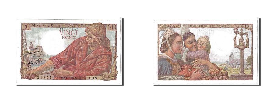 World Coins - France, 20 Francs, 20 F 1942-1950 ''Pêcheur'', 1942, KM #100a, AU(55-58), 2...