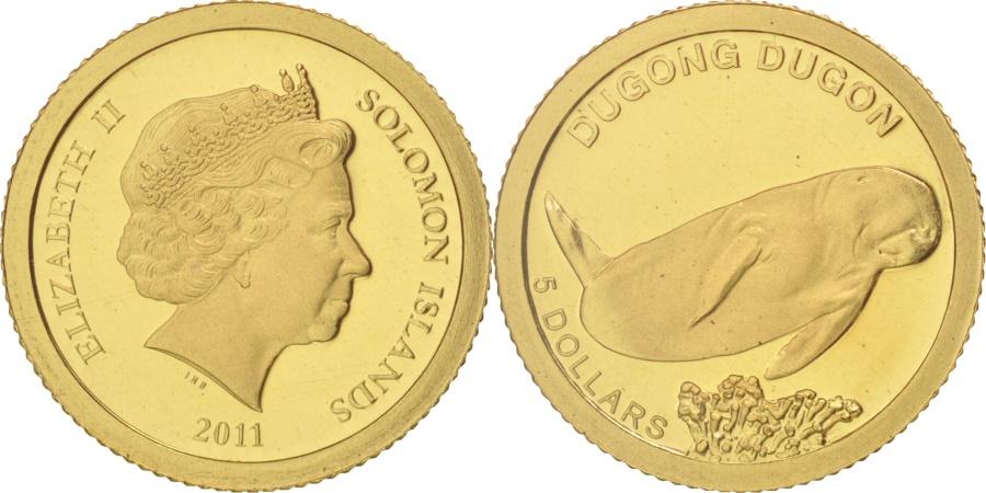World Coins - Solomon Islands, Elizabeth II, 5 Dollars, 2011, , Gold, KM:163